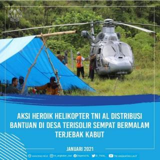 Cuaca Buruk dan Berkabut, Helikopter Distribusi Bantuan TNI AL Bagi Majene Harus Menginap